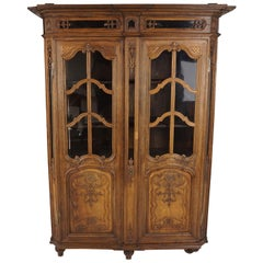 Antique French Carved Oak Display Cabinet, Bookcase France 1890, B2037