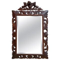 Antique French Carved Oak Frame Beveled Mirror Wall Mantel Louis XIV Renaissance