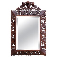 Antique French Carved Oak Frame Beveled Mirror Wall Pier Mantel Renaissance
