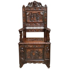 Antique French Carved Oak Hall Bench Brittany Breton Pew Chest Trunk