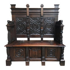 Antique French Carved Oak Hall Bench Chest Gothic Settle Pew Renaissance