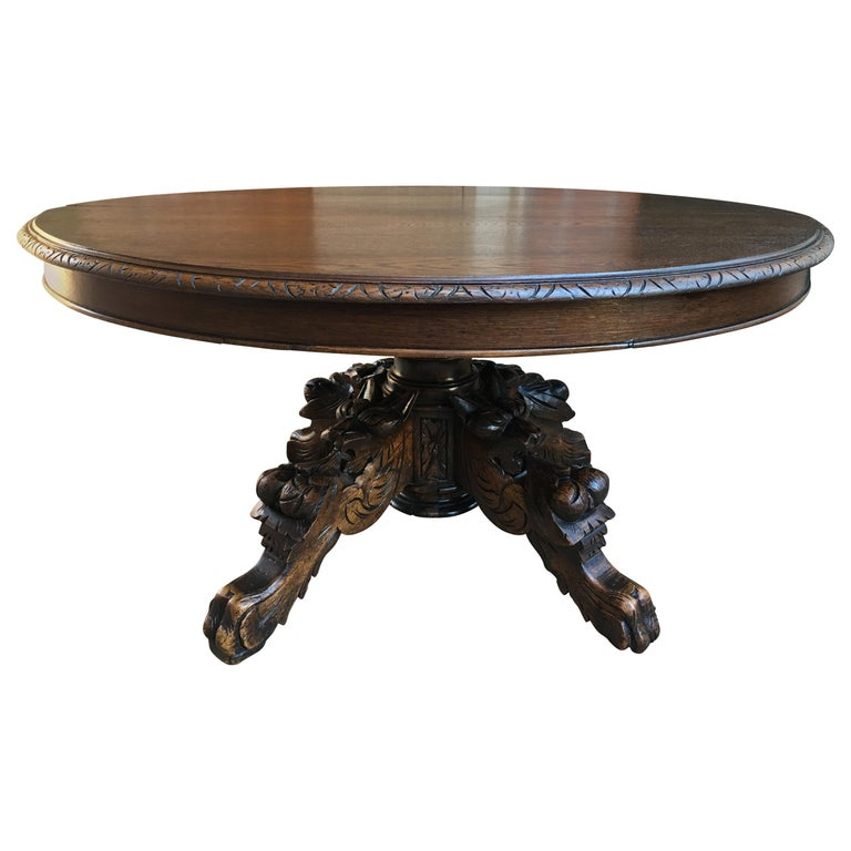 Antique French Carved Oak Hunt Coffee Table Renaissance Black Forest Oval For Sale At 1stdibs