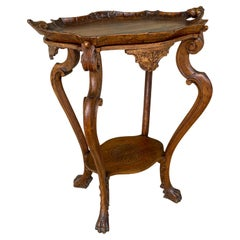Antique French Carved Oak Louis XVI Tray Top Table