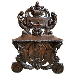 Antique French Carved Oak Renaissance Hall Bench Loveseat Chair Gothic Mermaid