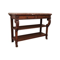 Antique French Carved Oak Server with Original Marble, circa 1880