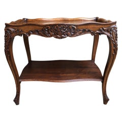 Antique French Carved Oak Side Table Louis XV Regency Style Wine Serving Glass