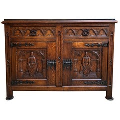 Antique French Carved Oak Sideboard Cabinet Black Marble Renaissance Gothic