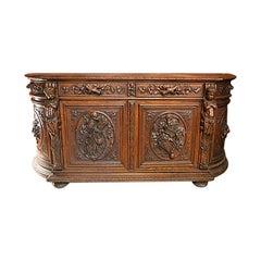 Antique French Carved Oak Sideboard