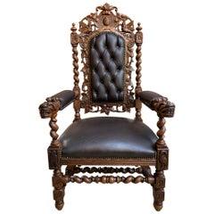 Antique French Carved Oak Throne Armchair Barley Twist Renaissance Louis XIV