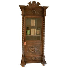 Antique French Carved Oak Vitrine Cabinet Bookcase Barley Twist Renaissance
