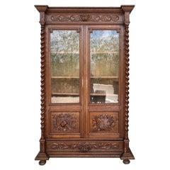Antique French Carved Oak Vitrine Cabinet Bookcase Barley Twist Renaissance