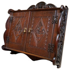 French Carved Oak Wall Cabinet Shelf Box Black Forest, Brittany, 19th Century