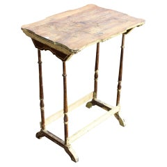 Antique French Carved Top Side Table