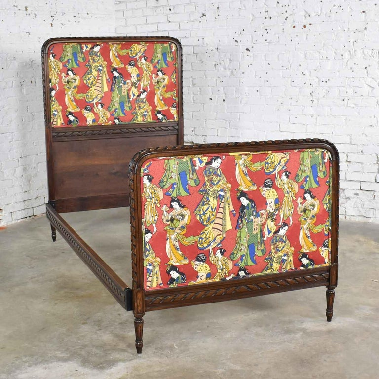 19th Century Antique French Carved Walnut and Upholstered Twin Bed with Asian Figural Fabric For Sale