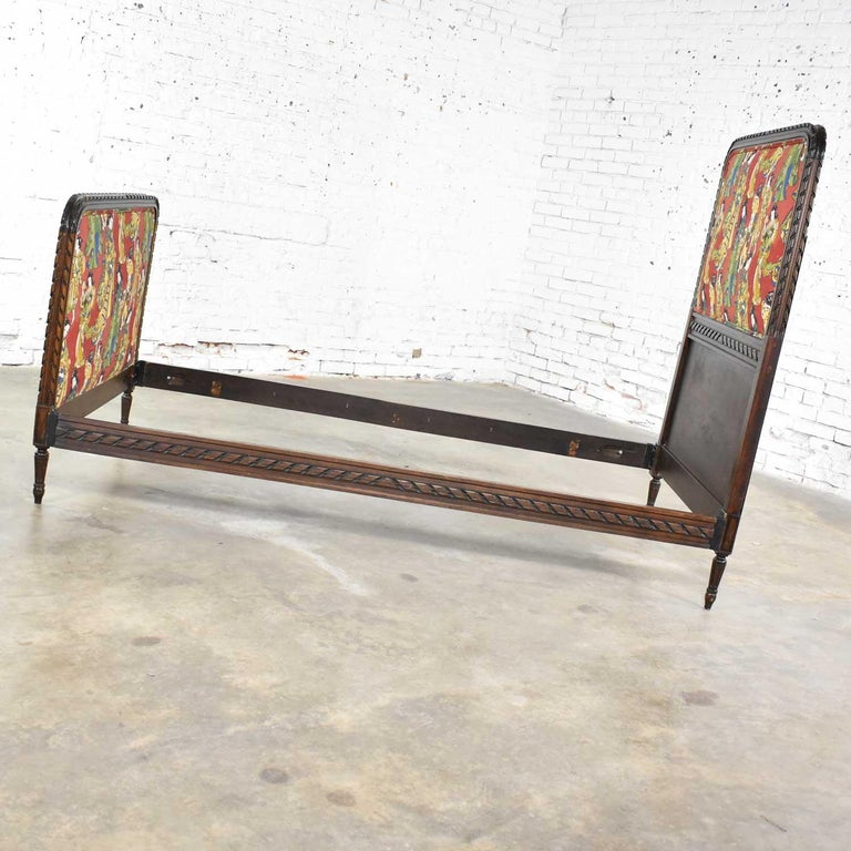 Antique French Carved Walnut and Upholstered Twin Bed with Asian Figural Fabric For Sale 1
