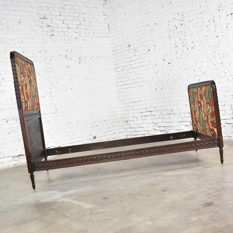 Antique French Carved Walnut and Upholstered Twin Bed with Asian Figural Fabric For Sale 2