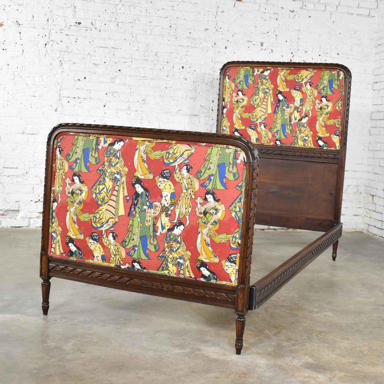 Antique French Carved Walnut and Upholstered Twin Bed with Asian Figural Fabric For Sale 3