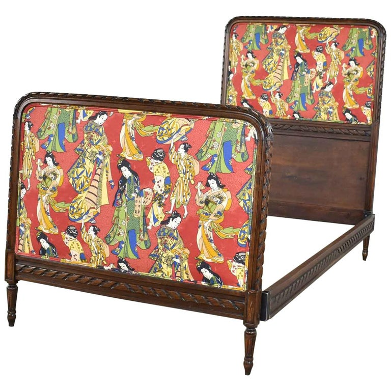Antique French Carved Walnut and Upholstered Twin Bed with Asian Figural Fabric For Sale