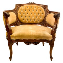 Antique French Carved Walnut Bergère Chair, circa 1870s