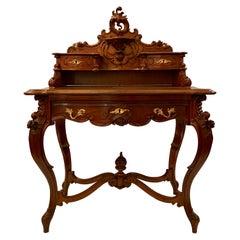 "Antique French Carved Walnut ""Bon Heur Du Jour"" Writing Desk, circa 1890"