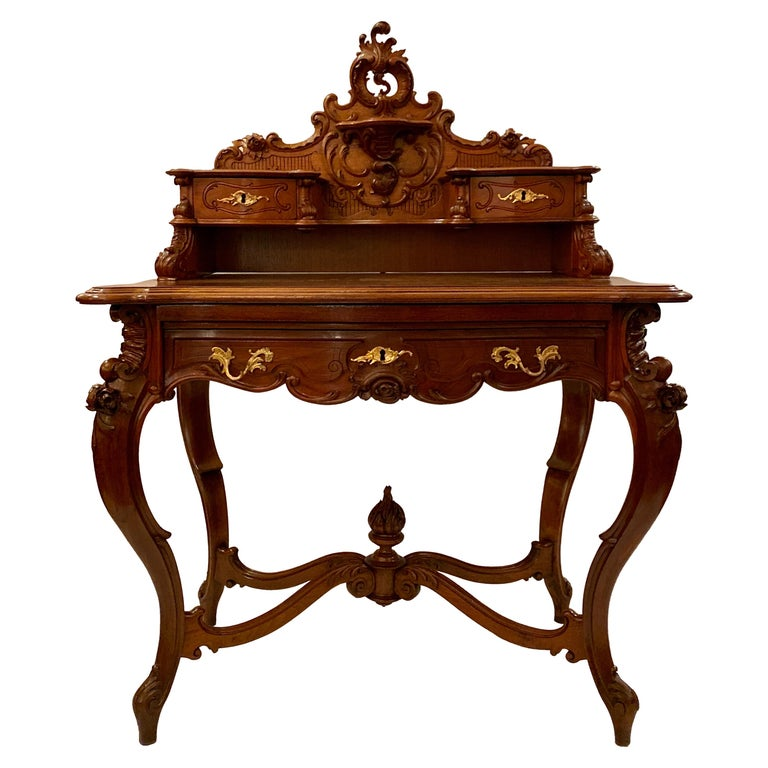 "Antique French Carved Walnut ""Bon Heur Du Jour"" Writing Desk, circa 1890 For Sale"