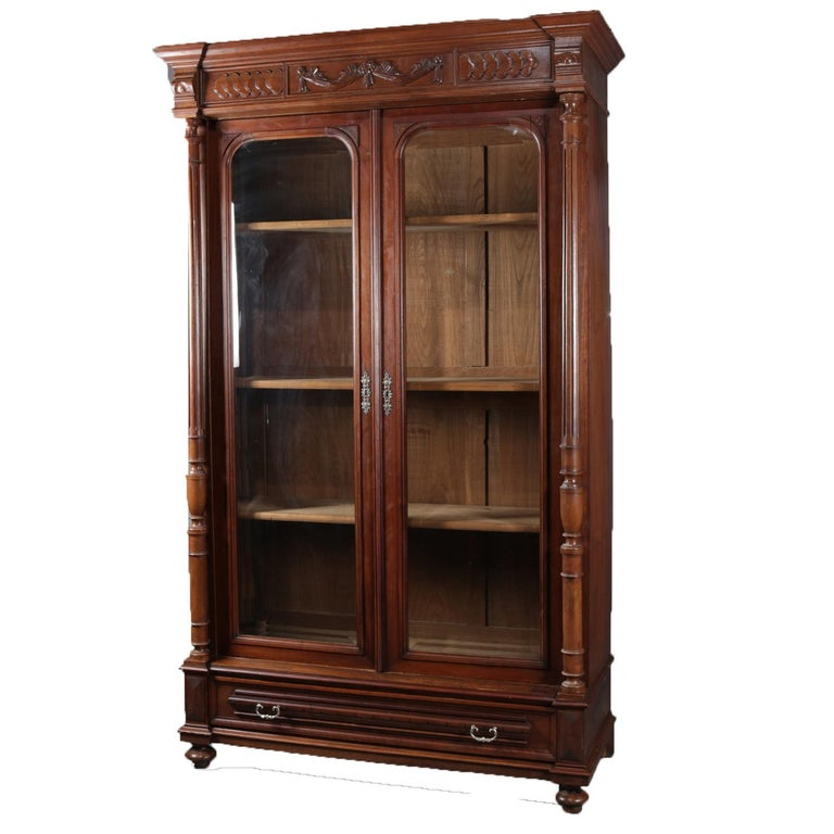 Antique French Carved Walnut Double Door Enclosed Bookcase