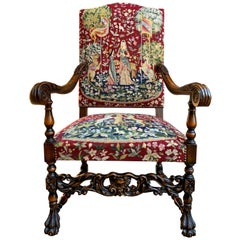 Antique French Carved Walnut Fireside Dining Armchair Tapestry Unicorn and Lady