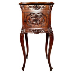 Antique French Carved Walnut Occasional/Night Table, Circa 1890