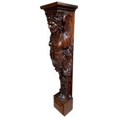Antique French Carved Walnut Renaissance Corbel Stand Pedestal Architectural