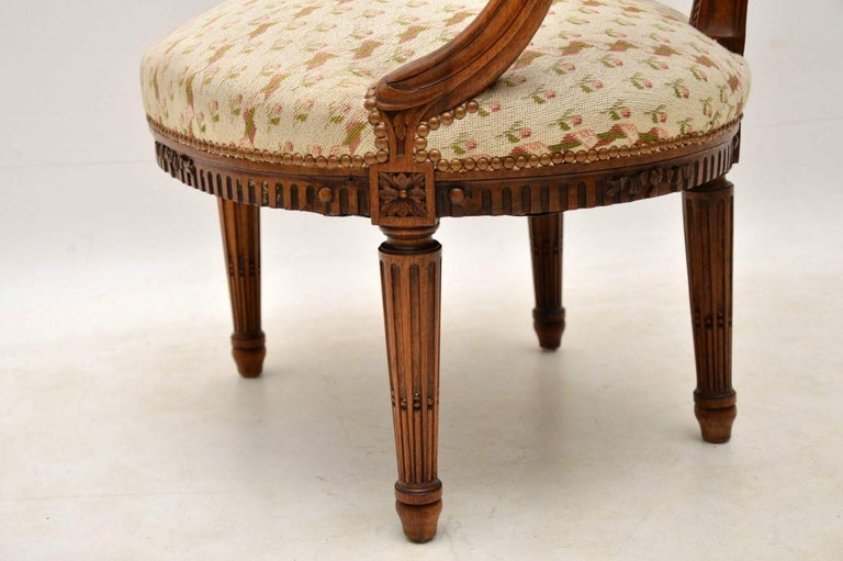 Antique French Carved Walnut Salon Armchair For Sale 5