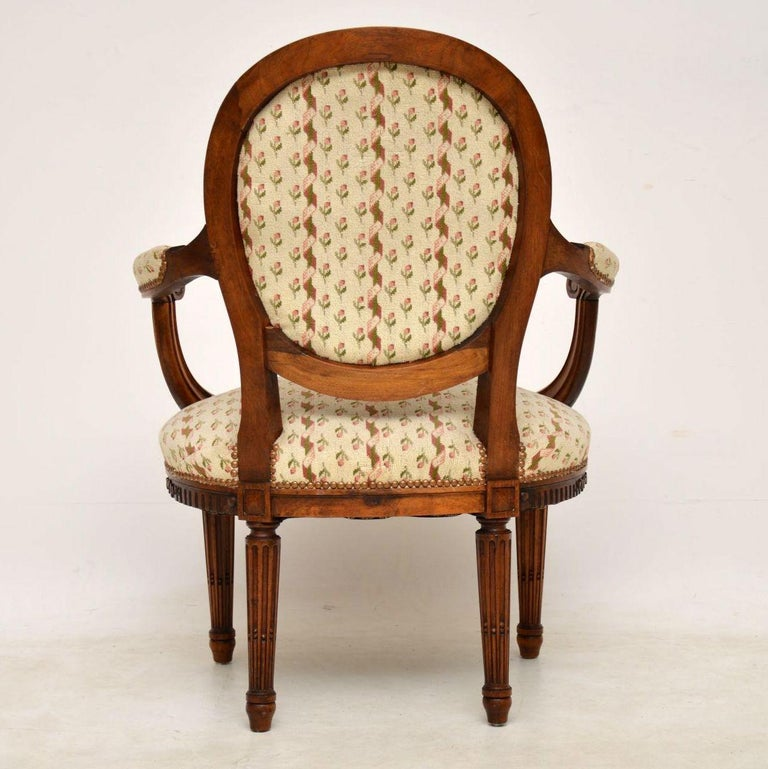 Antique French Carved Walnut Salon Armchair For Sale 6