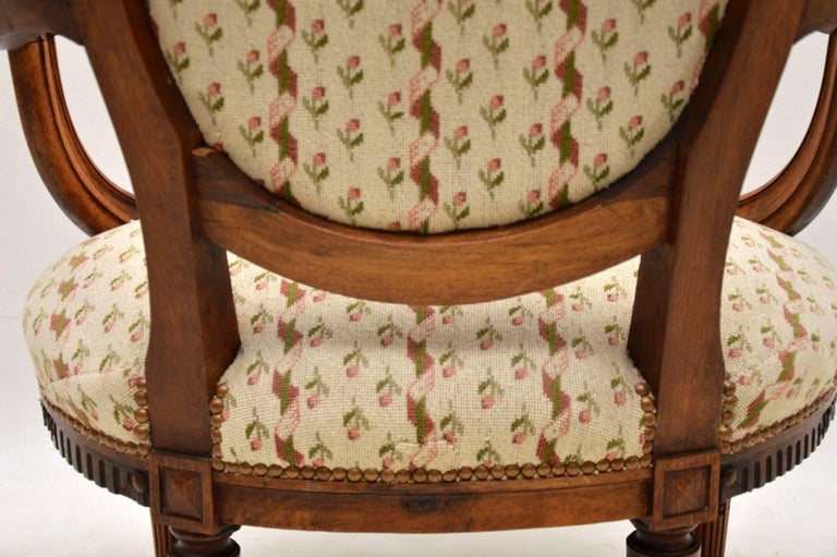 Antique French Carved Walnut Salon Armchair For Sale 7