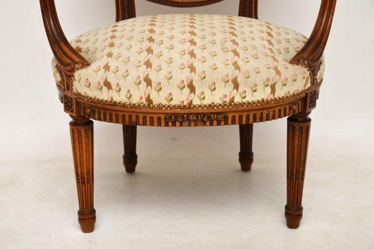19th Century Antique French Carved Walnut Salon Armchair For Sale