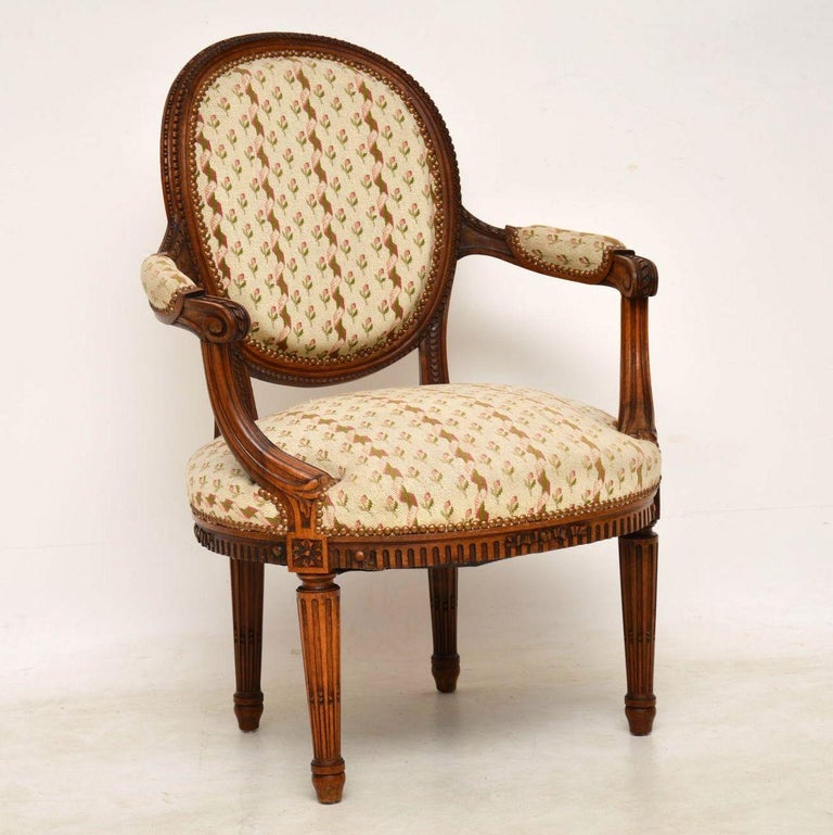 Antique French Carved Walnut Salon Armchair For Sale 1
