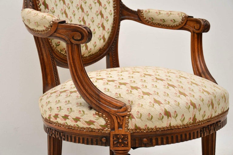 Antique French Carved Walnut Salon Armchair For Sale 2