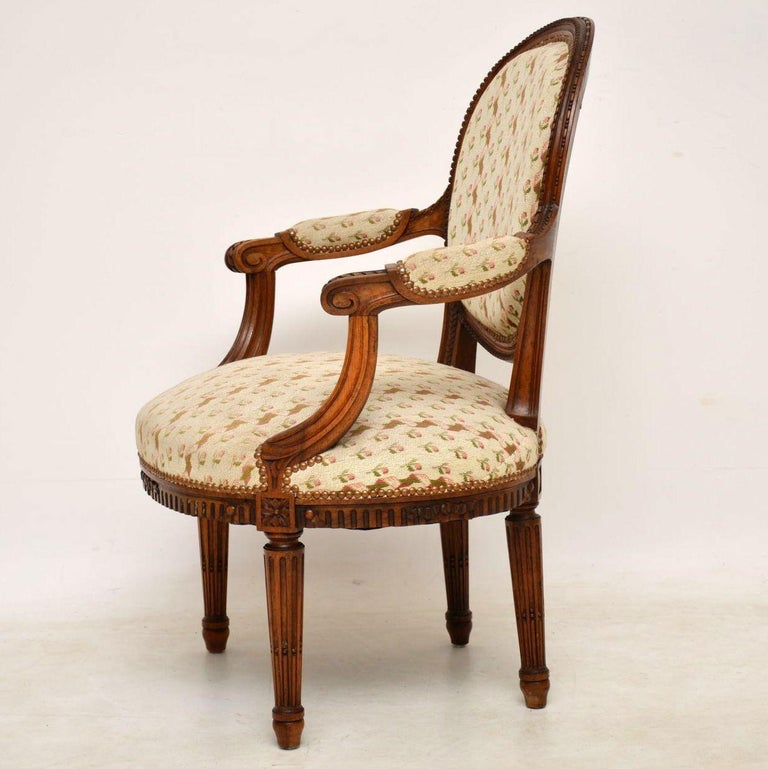 Antique French Carved Walnut Salon Armchair For Sale 3