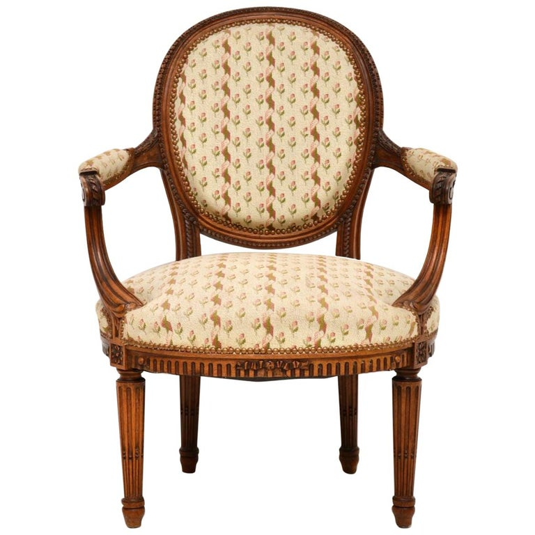 Antique French Carved Walnut Salon Armchair For Sale