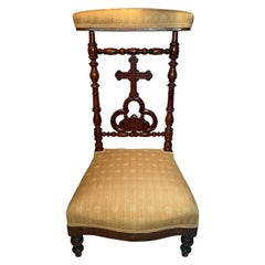 """Antique French Carved Walnut Yellow Upholstered """"Prie Dieu"""" Prayer Chair Ca 1860"""