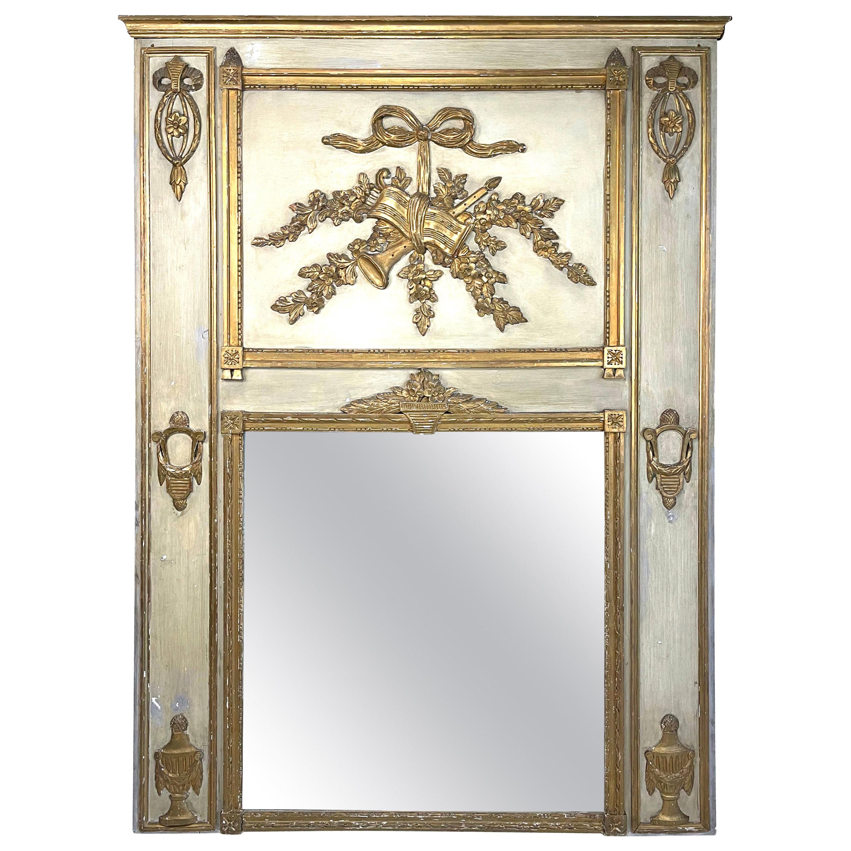 Antique French Carved White Painted Giltwood and White Trumeau Mirror