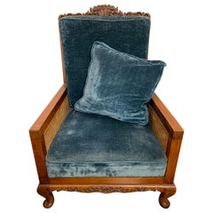 Antique French Carved Wood Blue Cane Bergere Armchair