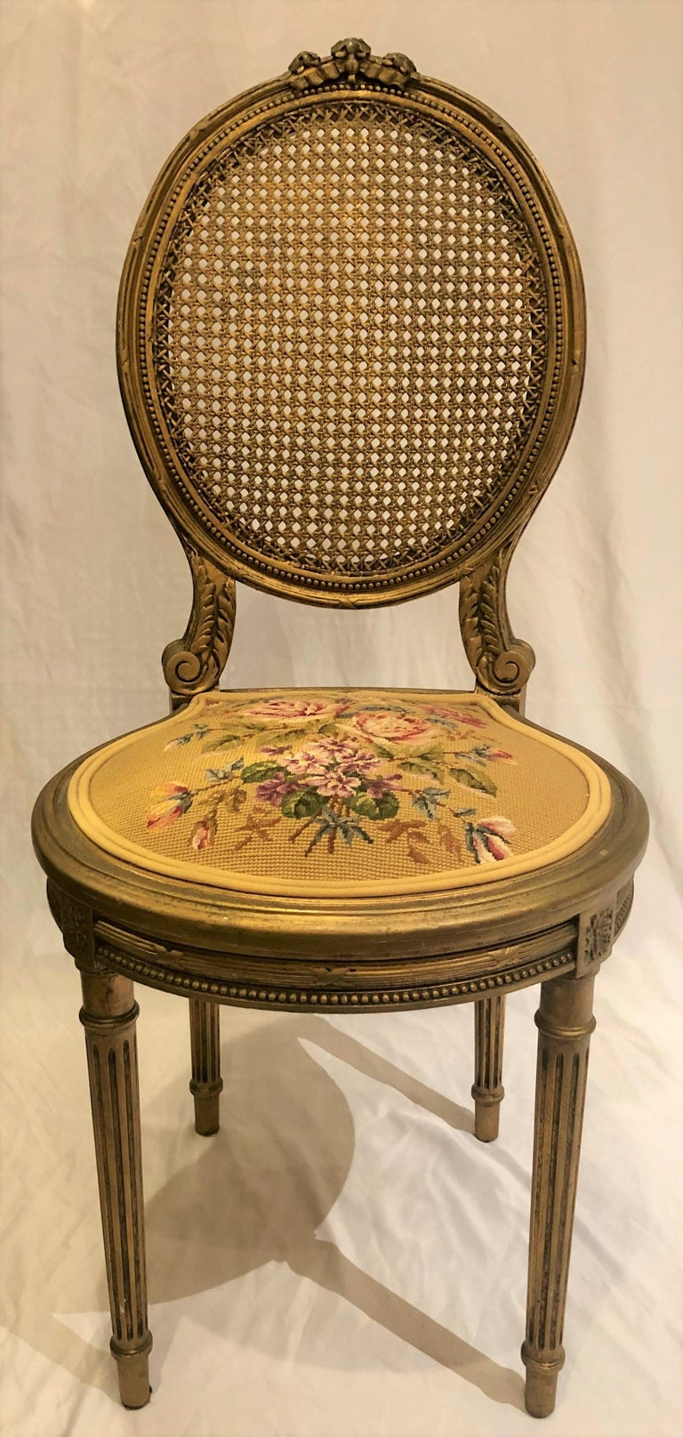 Antique French carved wood gilt side chair, circa 1870-1880 FOC061.