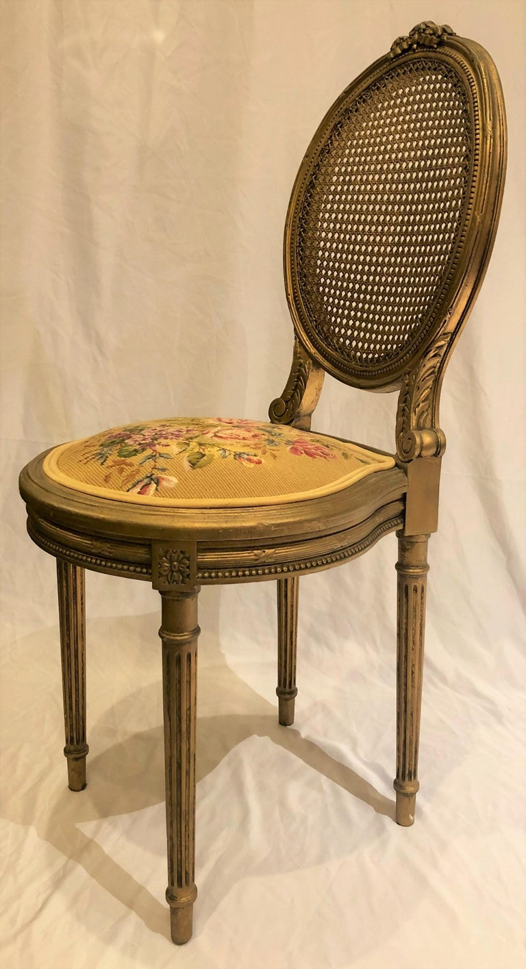 Antique French Carved Wood Gilt Side Chair, circa 1870-1880 In Good Condition For Sale In New Orleans, LA
