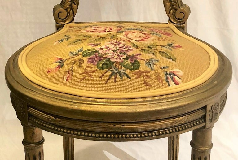 19th Century Antique French Carved Wood Gilt Side Chair, circa 1870-1880 For Sale