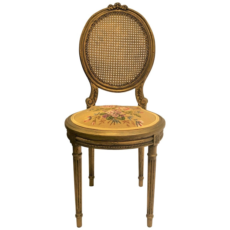 Antique French Carved Wood Gilt Side Chair, circa 1870-1880 For Sale