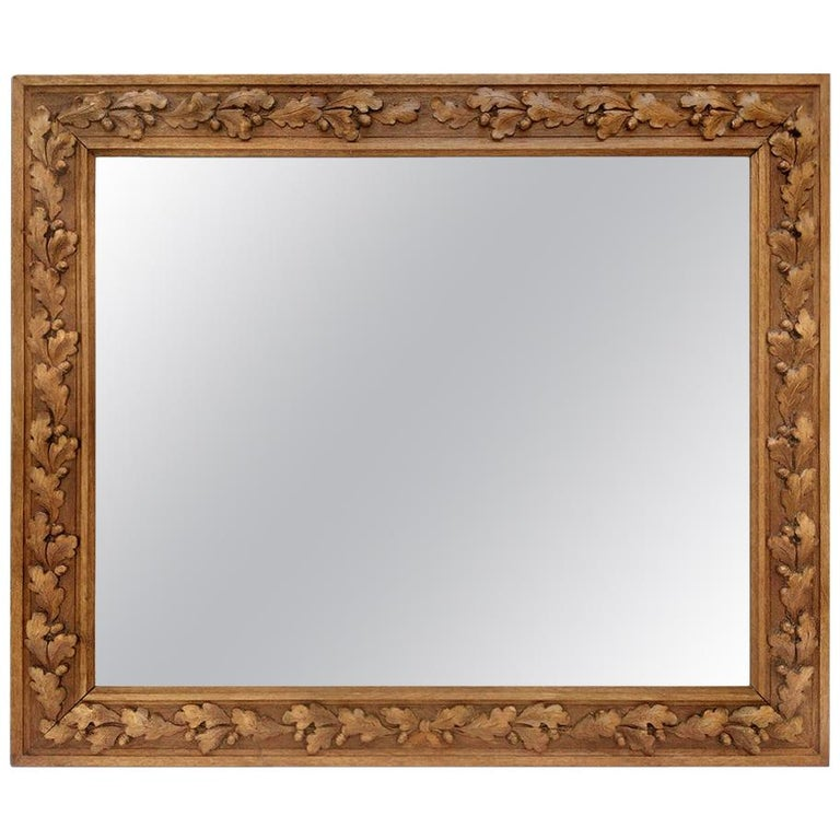 Antique French Carved Wood Mirror, circa 1930 For Sale