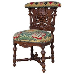 Antique French Carved Wood Smoking Chair with Embroidered Upholstery, circa 1900