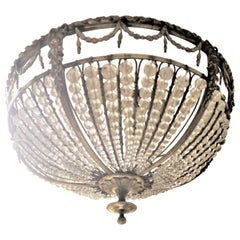 Antique French Cast Bronze and Beaded Crystal Flush Mount Ceiling Light Fixture