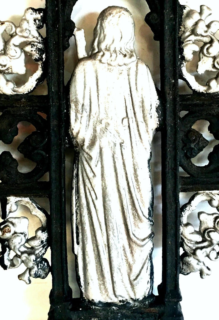 Antique French Cast Iron Architectural Louis XVI Style Grave Marker-Crucifix For Sale 6