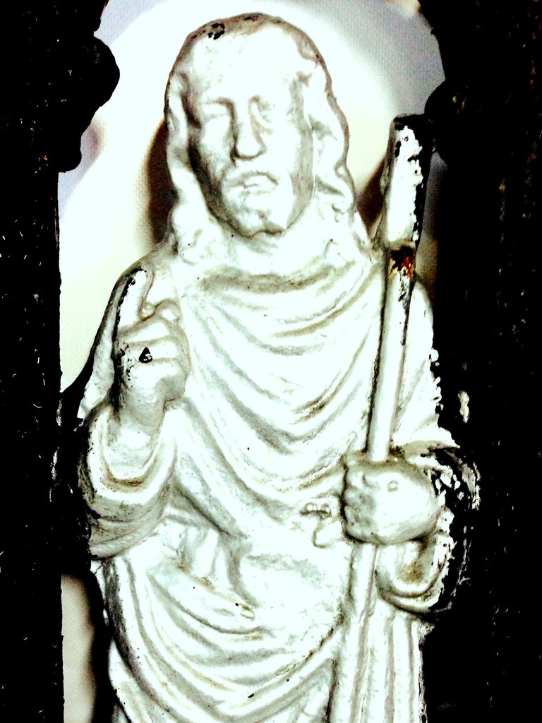Antique French Cast Iron Architectural Louis XVI Style Grave Marker-Crucifix For Sale 5