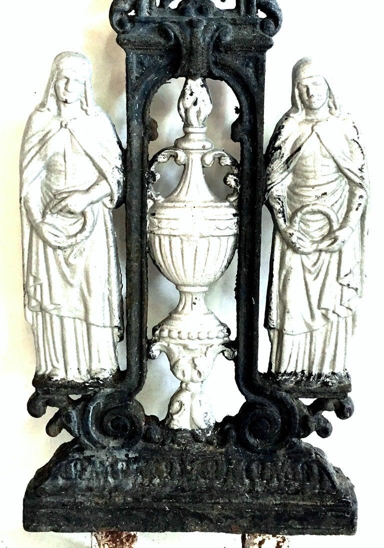 Antique French Cast Iron Architectural Louis XVI Style Grave Marker-Crucifix For Sale 2